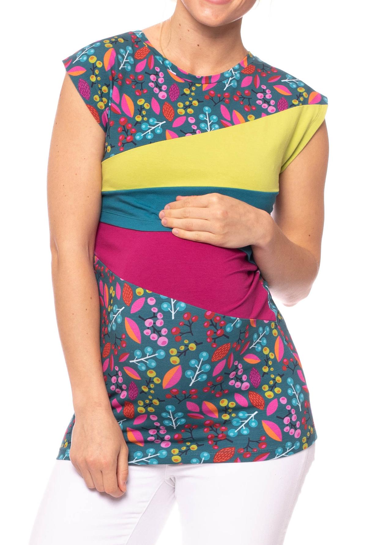 Smallshow Stillshirt Kurz/ärmlige gestreifte Lift-up-Hemden f/ür stillende Frauen